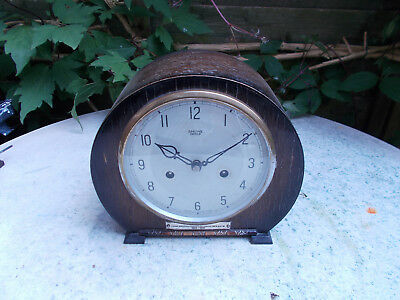 Smiths Enfield 8 Day Mantel Clock Oack Case British Deco 1950s Spares Repair