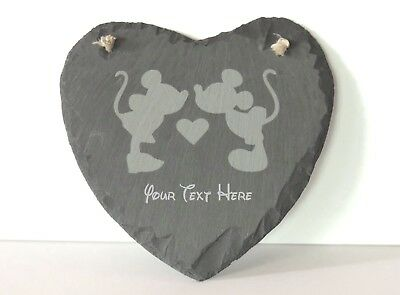 Personalized Mickey& Minnie Slate Heart  Laser Engraved Wedding Anniversary Gift