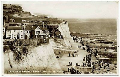 Early Real Photo Postcard . Cliffs & New Promenade . Rottingdean . Sussex