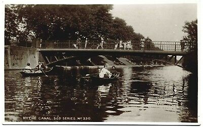 Early Real Photo Postcard . Scene On The Hythe Canal . Kent