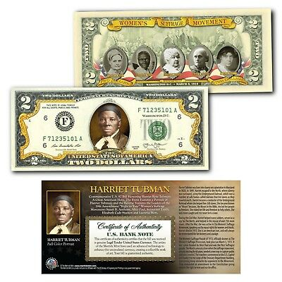 HARRIET TUBMAN Womens Suffrage Movement OFFICIAL Genuine Legal Tender US $2 Bill