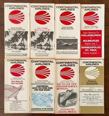 Continental Airlines 8 System Timetables 1980 - 1982