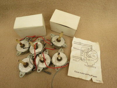 X 8 Vintage Electric Clock Motors With Worm Gear