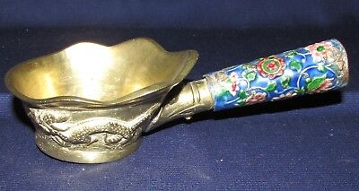One Vintage Cast Brass Silent Butler Chinese Ashtray with Enamel Handle