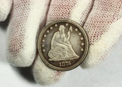1876 Seated Liberty Quarter Dollar 25c Silver Great Definition