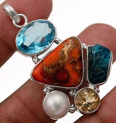 Copper Turquoise & Multi-Gemstone 925 Sterling Silver Pendant Jewelry  C1-8