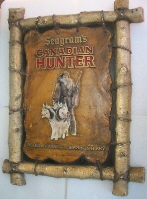 Vintage Seagram Whisky Sign Seagram's Canadian Hunter Sipping Whisky