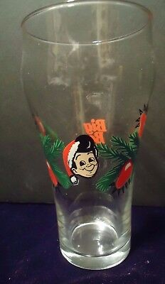 Big Boy Restaurant & Bakery Santa Hat Christmas Design Soda Glass Tumbler vtg