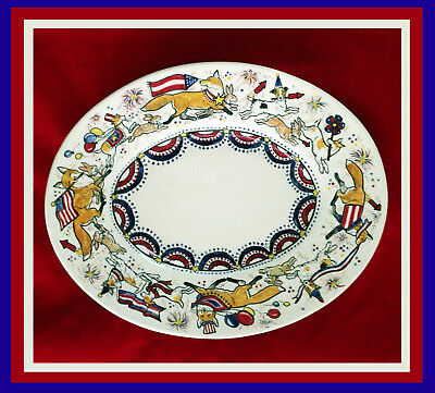 Sonnett Hand Painted Lrg. Platter, Patriotic FOX & Friends Celebrating the 4th!