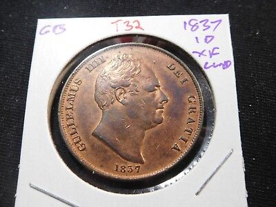 T32 Great Britain 1837 Penny XF Cleaned
