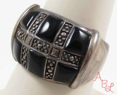 Sterling Silver Vintage 925 Etched Dome Black Onyx Ring Sz 8 (6.5g) - 728330
