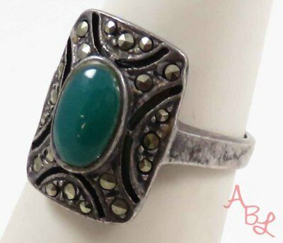Sterling Silver 925 Cocktail Green Jade & Marcasite Ring Sz 5.5 (4g) - 728256