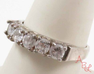 Sterling Silver 925 Prong Set Cocktail White Stone Ring Sz 8.75 (3.2g) - 728258