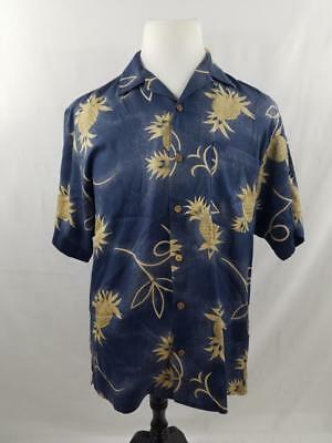 2defb15ee Tommy Bahama Mens S Silk Blue Yellow Pineapple Button Down Hawaiian Camp  Shirt