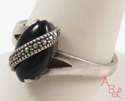 Sterling Silver 925 Cocktail Black Onyx & Marcasite Ring Sz 11 (3.8g) - 728262