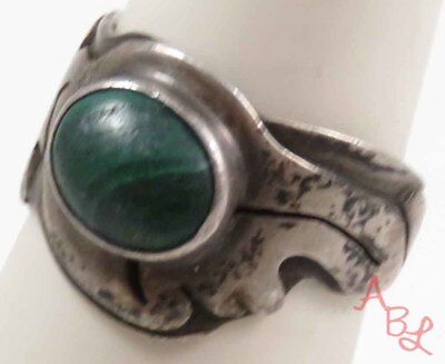 Sterling Silver Vintage 925 Navajo Solitaire Malachite Ring Sz 7 (5.9g) - 728252
