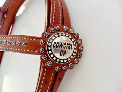 "Western Horse Riding Bridle - ""cowgirl Up""  With Split Reins"