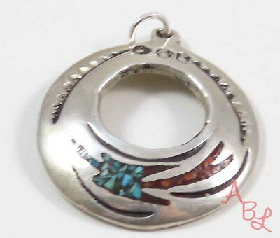 ED Sterling Silver Vintage 925 Navajo Turquoise & Coral Pendant (7.5g) - 728589