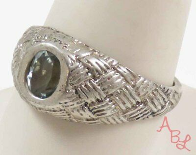 Sterling Silver 925 Basket Weave Design Band Solitaire Topaz Ring Sz 10 (5.2g)