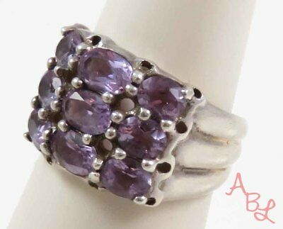 Sterling Silver Vintage 925 Faceted Dome Amethyst Ring Sz 7 (6.2g) - 728329