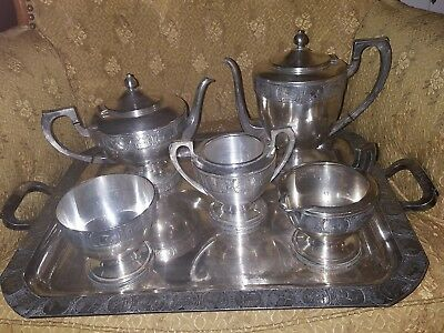 Vintage Bernard Rice and Sons Art Deco Silver Plated Coffee Tea Service-6 Pieces