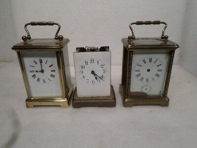 Three (3) Antique 1890 French Carriage Clocks Needing Repairs, Sold All Together