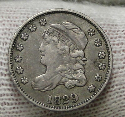 1829 Capped Bust Half Dime H10C 5 Cents - Nice Old Coin, Free Shipping  (6914)