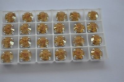 24 Swarovski 39ss Crystal Gold Shine In Sew On Settings #1028 -K452