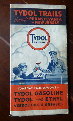 1932 Pennsylvania New Jersey  road map Tydol  oil  gas route 66 Flying A