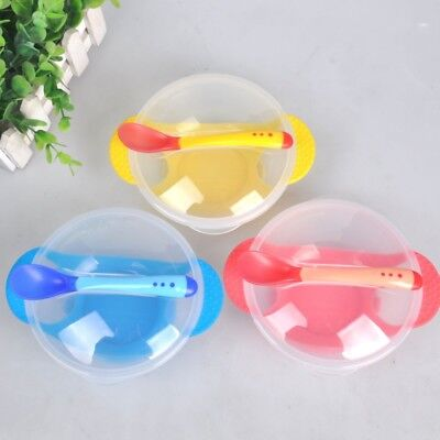 Baby Kids Learnning Dish with Sucker Assist Food Feeding Bowl Spoon Lid 3Pcs/Set