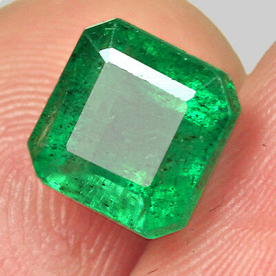 2.15CT 100% Natural Awesome Deep Green Zambia Emerald Cut Collection MQM30