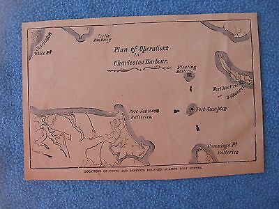 """1884 Civil War Print - Map of """"Plan Of Operations in Charleston Harbor"""" FORTS +"""