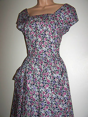 Laura Ashley Vintage Rear Cut Detail Patch Pockets Roses Summer Tea Dress 12 New
