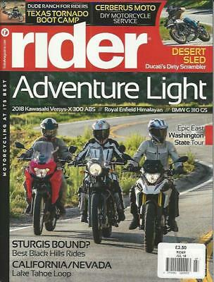 RIDER MAGAZINE July 2018 (NEW) *Post included to UK/Europe/USA/Canada