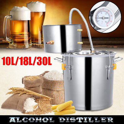 AU 10L-30L Stainless Steel Alcohol Moonshine Water Copper Distiller Oil Brewing