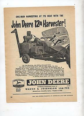 John Deere 12A Harvester Advertisement removed from 1953 Farming Magazine