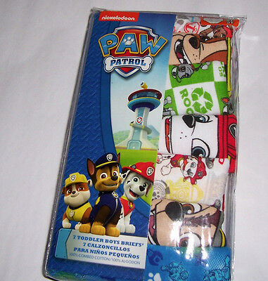 7 Paw Patrol Brief Toddler Boys 2T 3T Underwear Cotton NIP Multi-Color Prints