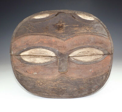 Antique Tribal Art Ethnic - African Kwele Gabon Carved Wood Mask - Unusual!