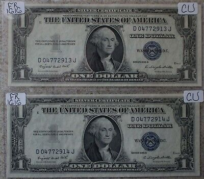 TWO Consecutive 1935 G CU $1 Silver Certificate Paper Money Currency #2913 #2914