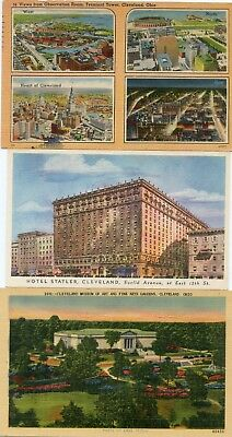 Lot of 3 Cleveland Ohio vintage postcards, Museum of Art, Hotel, Multiview card