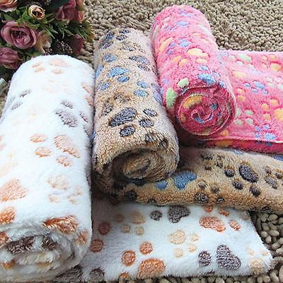 Warm Pet Mat Small Large Paw Print Cat Dog Puppy Fleece Soft Blanket Cushion GA#