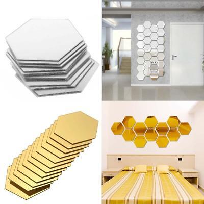 12pcs 3D Mirror Hexagon Vinyl Removable Wall Sticker Decal Home Decor Art DIY GA