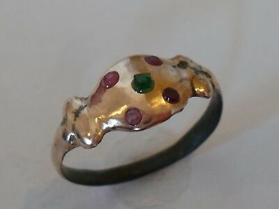 A Genuine ,200-400 A.d Detector Find Roman Ae Ring W/real Emerald & Rubies Stone
