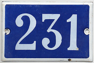 Old blue French house number 231 door gate plate plaque enamel steel metal sign