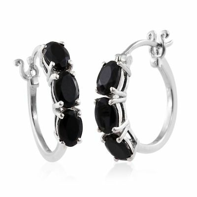 Black Tourmaline Hoop Earrings with Clasp in Platinum Over Silver 3.000 Ct.