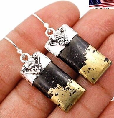 8g Golden Pyrite In Magnetite 925 Solid Sterling Silver Earrings Jewelry B2-2