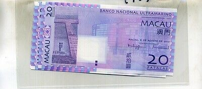 Macau 2006 20 Patacas Currency Note Lot Of 5 Consecutive Cu 4987D