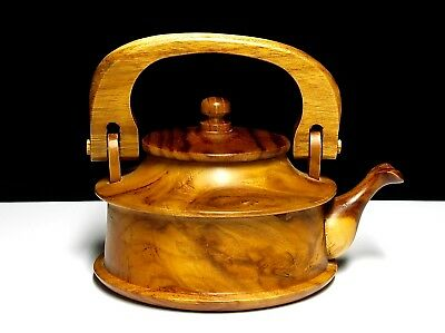 HANDCRAFTED DECORATIVE WOODEN TEAPOT w/LID SIGNED C.R CHINA? JAPAN? USA? S. AMER