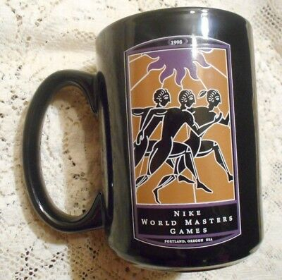 Vintage 1998 Nike World Masters Games Portland Oregon Black Coffee Mug New