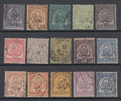 Tunisia Scott 9//27 F-VF Used 1888-1902 Coat of Arms 15 Stamps SCV $124.65
